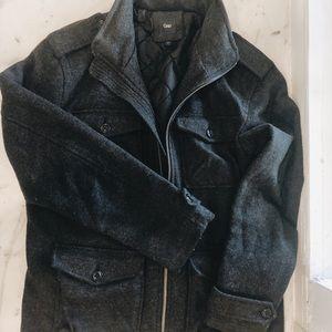 GAP Jackets & Coats - Men's Gap Large Charcoal Wool Zip Up Jacket Coat